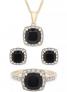 3-Pc. Set Onyx & Diamond Accent Pendant Necklace $69.30 (Reg. $360)